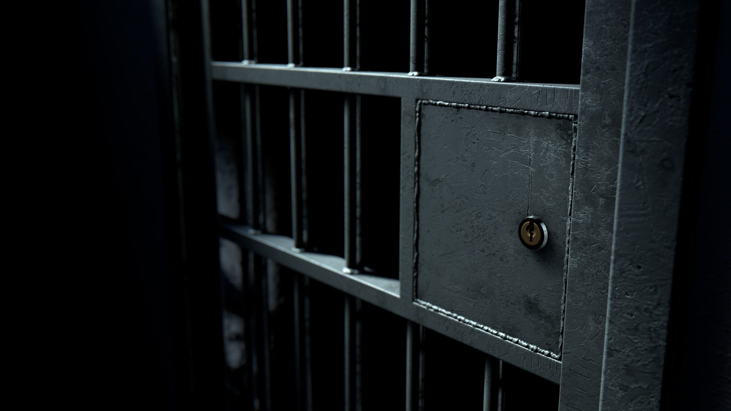 A closeup of the locking mechanism of a closed jail cell with welded iron bars on a dimly lit dark background - 3D render